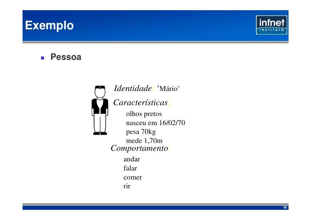 Exemplo     Pessoa               Identidade: 'Mário'             Características:                olhos pretos             ...