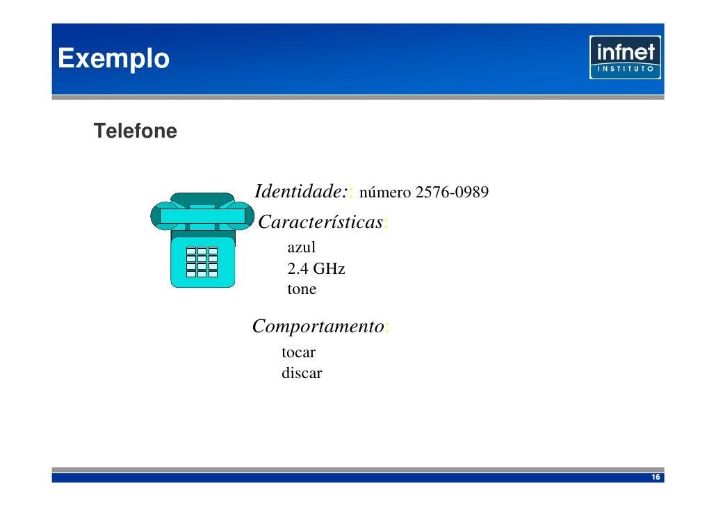 Exemplo    Telefone               Identidade:: número 2576-0989              Características:                  azul       ...
