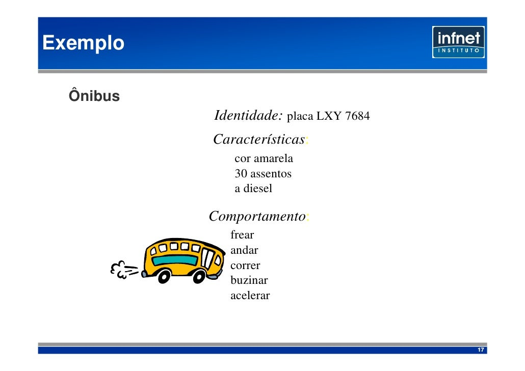 Exemplo    Ônibus            Identidade: placa LXY 7684            Características:               cor amarela             ...