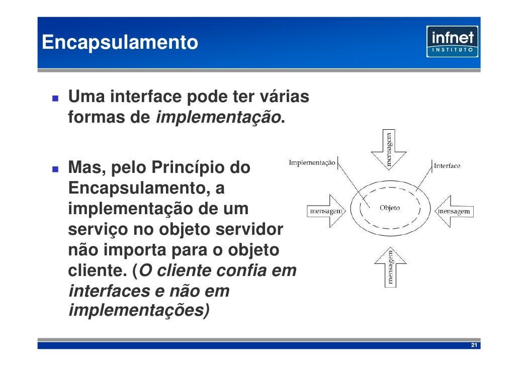 Encapsulamento    Uma interface pode ter várias   formas de implementação.    Mas, pelo Princípio do   Encapsulamento, a  ...