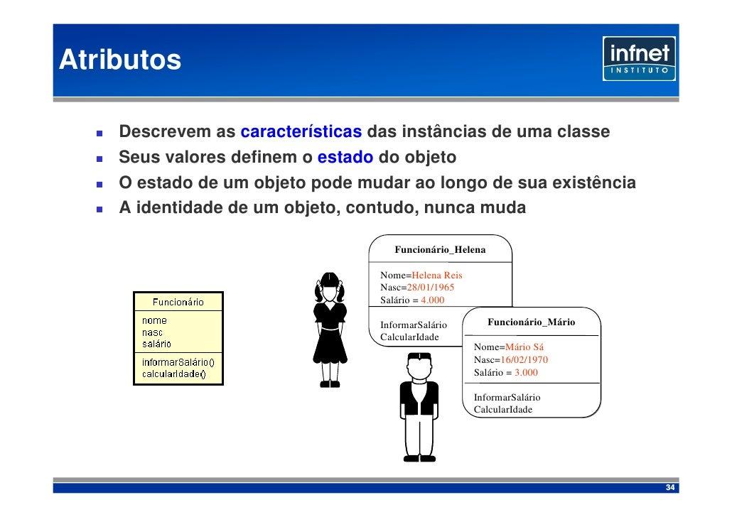 Atributos      Descrevem as características das instâncias de uma classe     Seus valores definem o estado do objeto     O...
