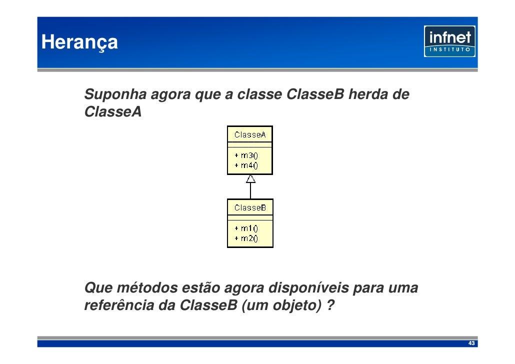 Herança     Suponha agora que a classe ClasseB herda de    ClasseA        Que métodos estão agora disponíveis para uma    ...