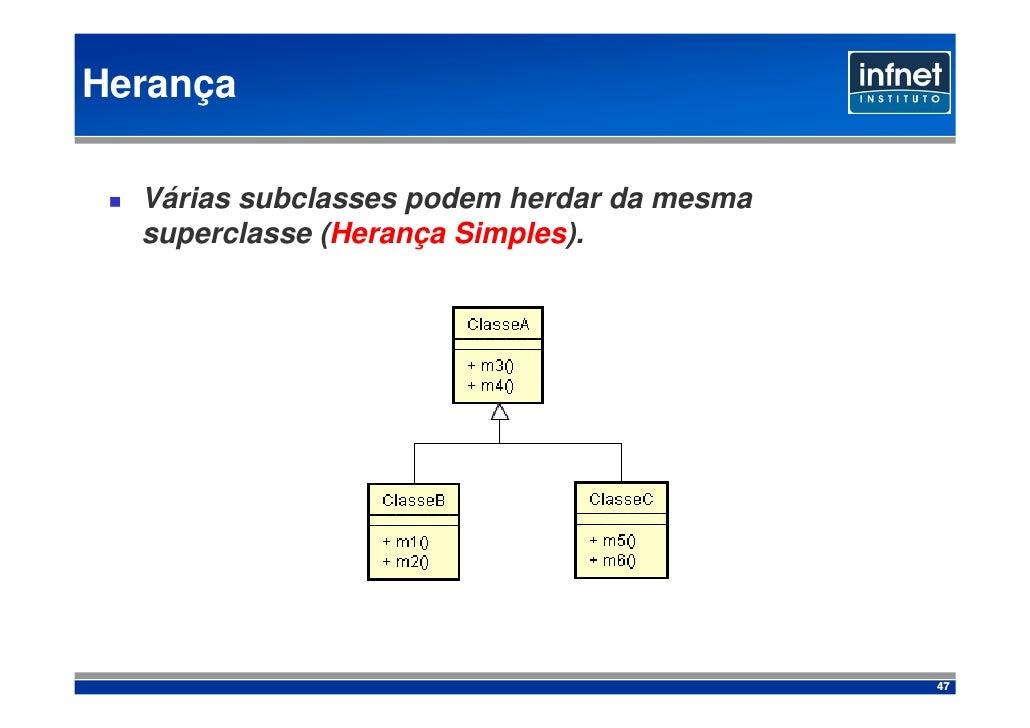 Herança    Várias subclasses podem herdar da mesma   superclasse (Herança Simples).                                       ...