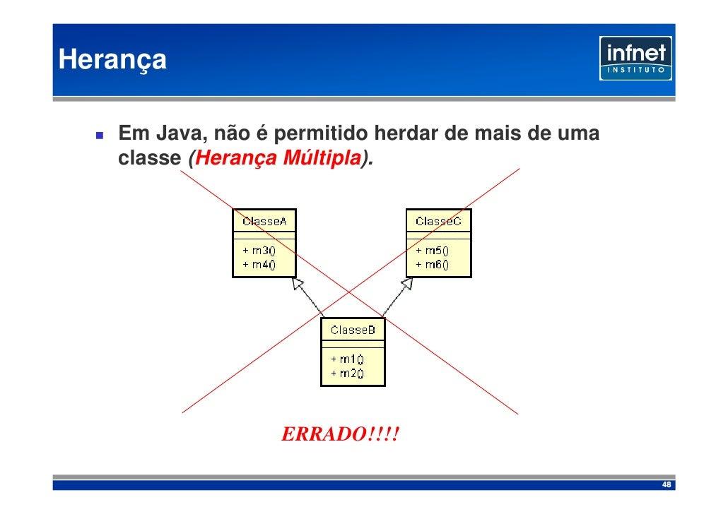 Herança     Em Java, não é permitido herdar de mais de uma    classe (Herança Múltipla).                       ERRADO!!!! ...