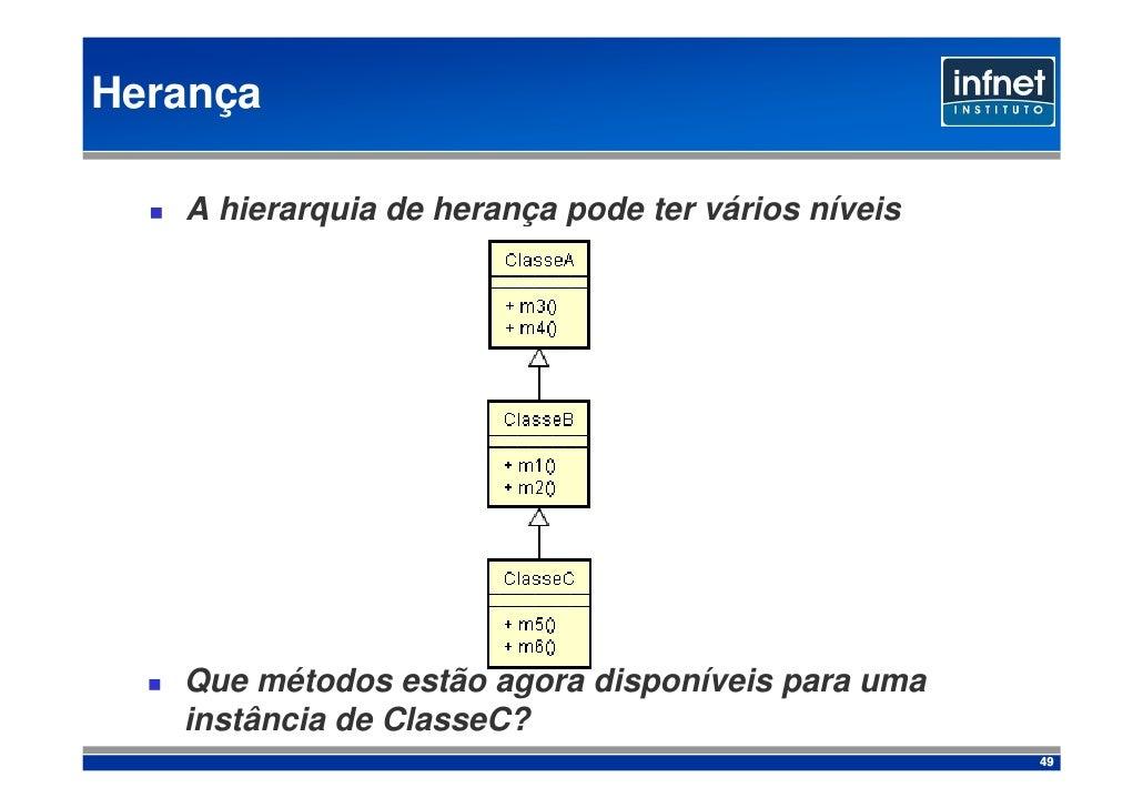 Herança     A hierarquia de herança pode ter vários níveis        Que métodos estão agora disponíveis para uma    instânci...