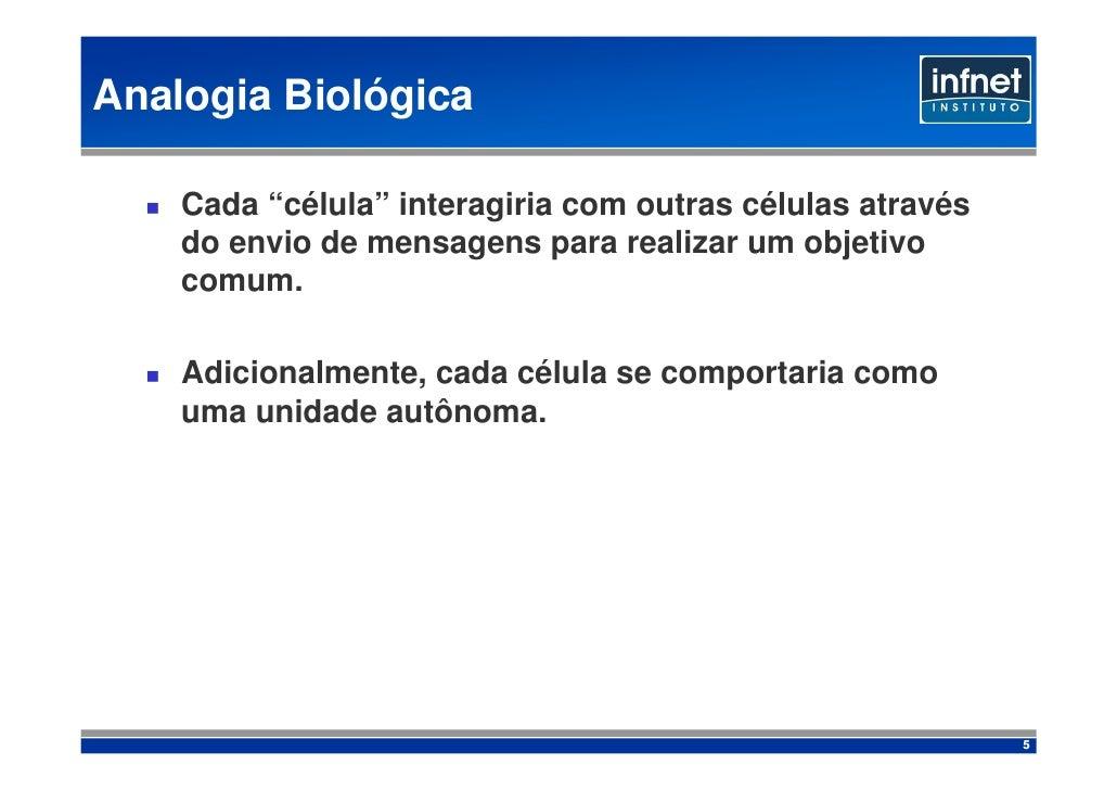 """Analogia Biológica      Cada """"célula"""" interagiria com outras células através     do envio de mensagens para realizar um ob..."""