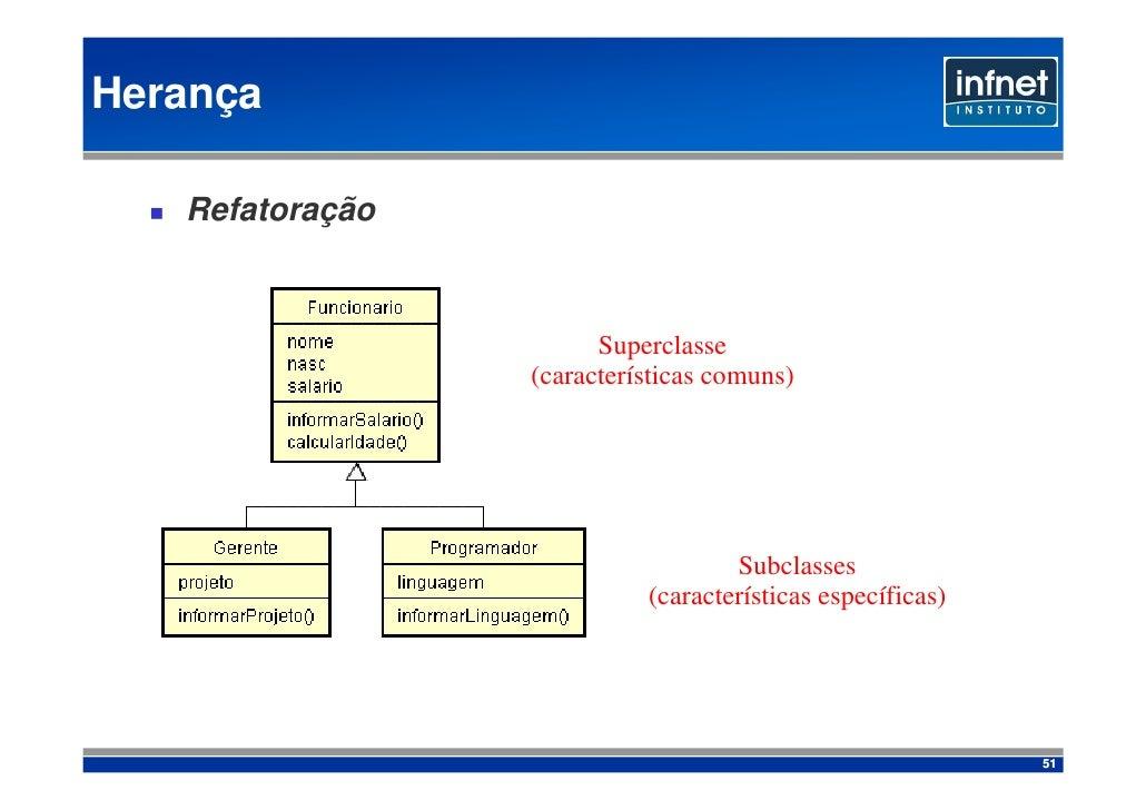 Herança     Refatoração                           Superclasse                  (características comuns)                ...