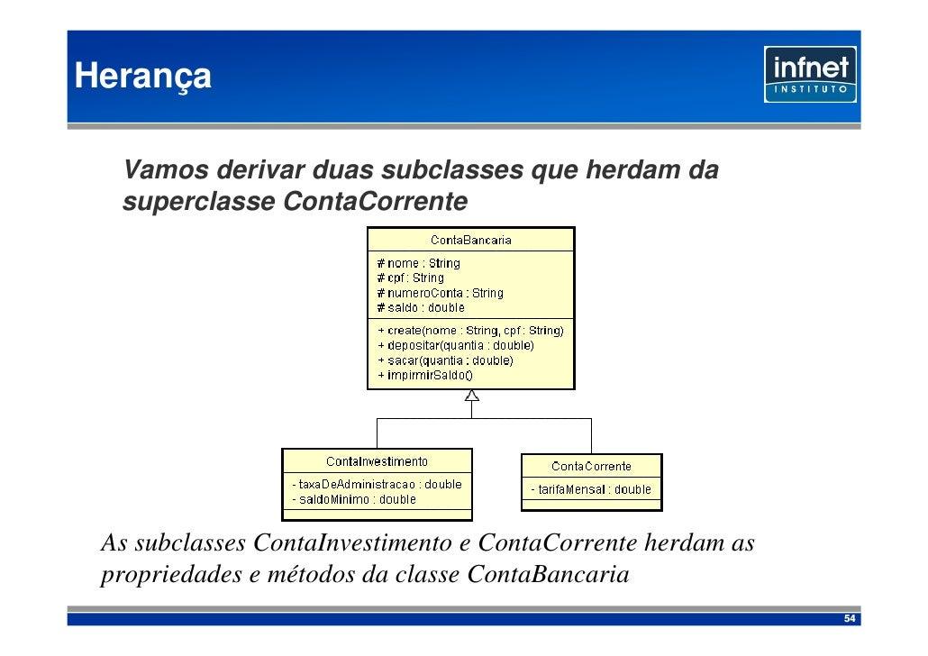 Herança    Vamos derivar duas subclasses que herdam da   superclasse ContaCorrente      As subclasses ContaInvestimento e ...