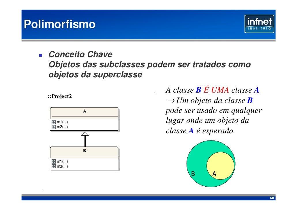 Polimorfismo      Conceito Chave     Objetos das subclasses podem ser tratados como     objetos da superclasse            ...
