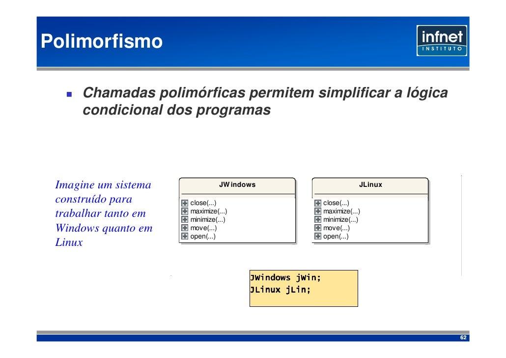 Polimorfismo       Chamadas polimórficas permitem simplificar a lógica      condicional dos programas      Imagine um sist...