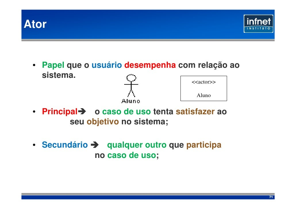 Ator    • Papel que o usuário desempenha com relação ao    sistema.                                         <<actor>>     ...