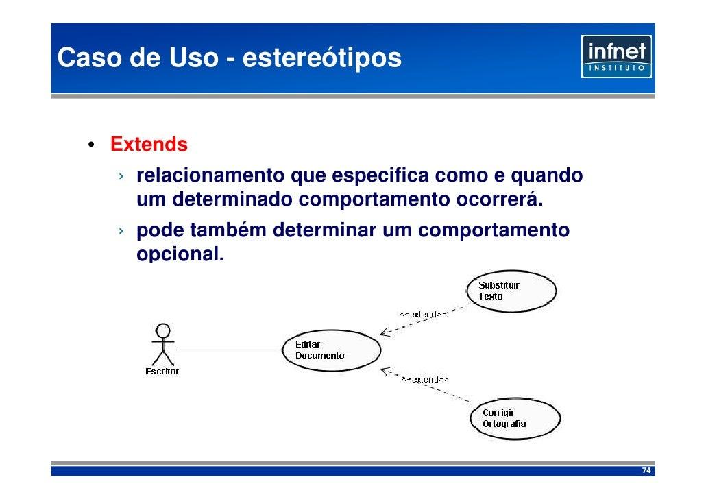 Caso de Uso - estereótipos     • Extends     › relacionamento que especifica como e quando       um determinado comportame...