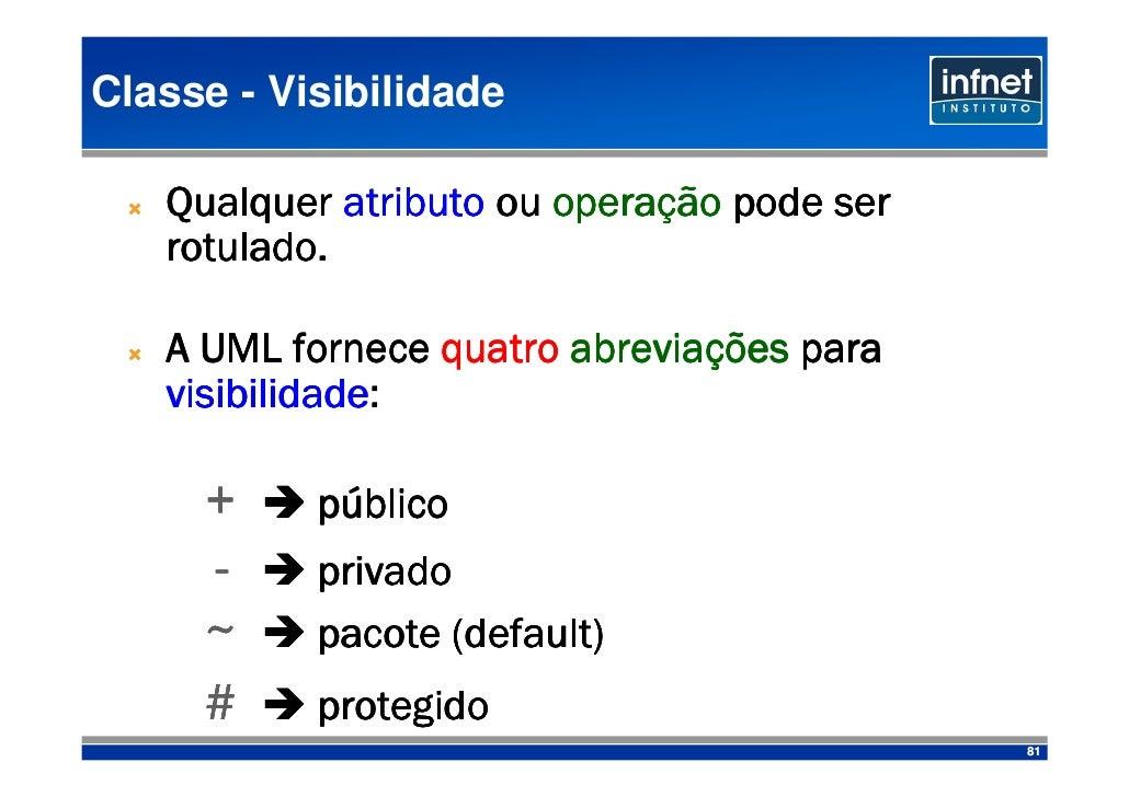 Classe - Visibilidade                          operaç    Qualquer atributo ou operação pode ser    rotulado.    rotulado. ...