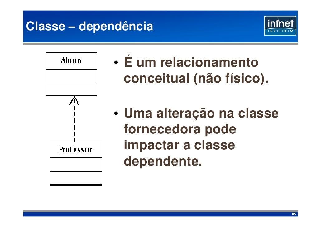 Classe – dependência               • É um relacionamento                conceitual (não físico).               • Uma alter...