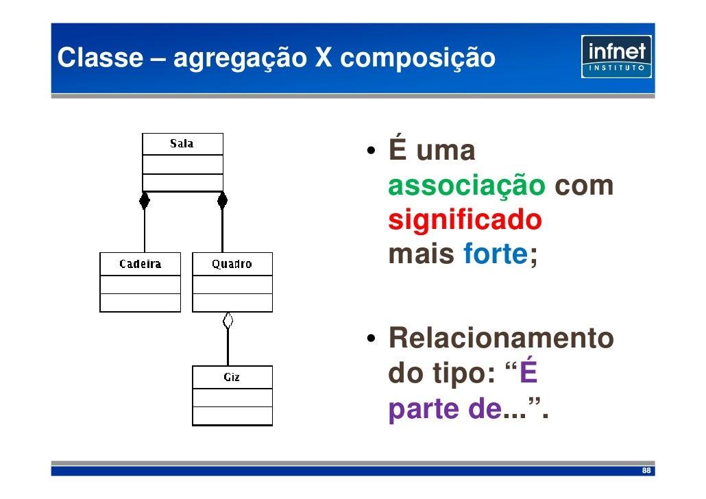 Classe – agregação X composição                        • É uma                        associação com                      ...
