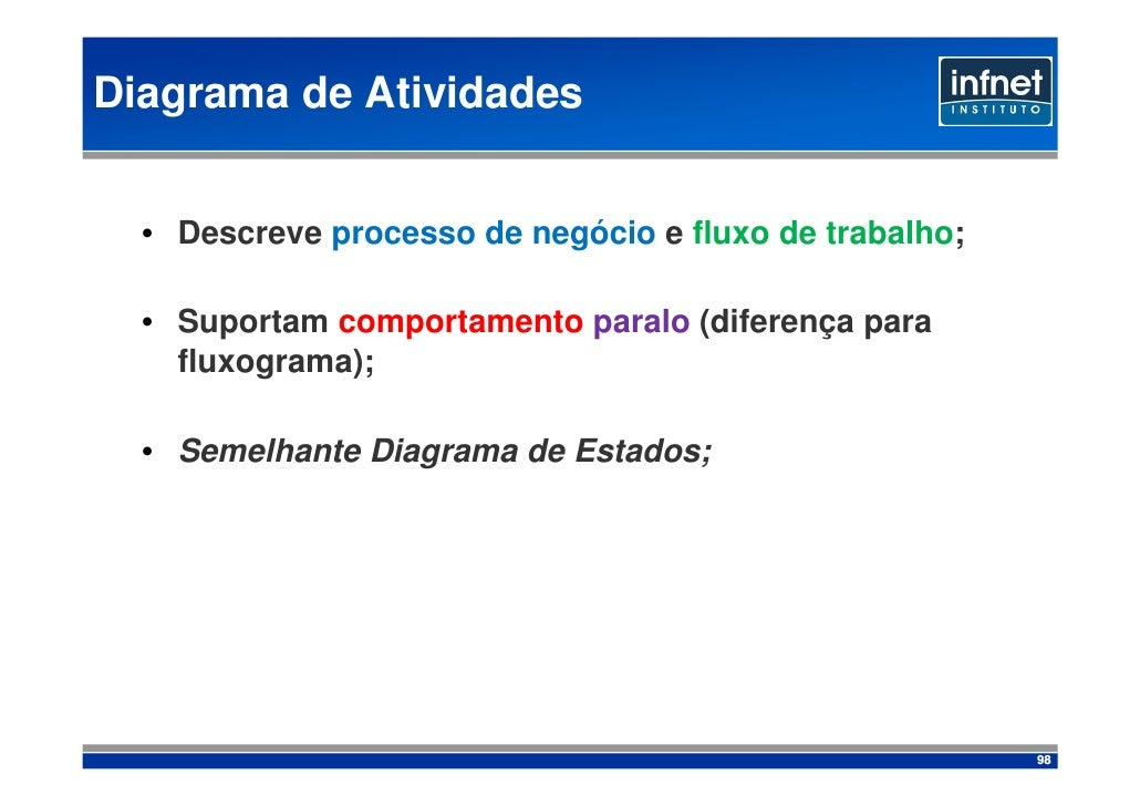 Diagrama de Atividades     • Descreve processo de negócio e fluxo de trabalho;    • Suportam comportamento paralo (diferen...