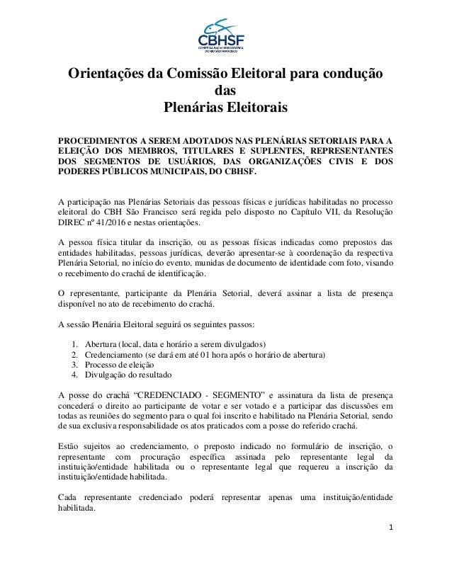 1 Orientações da Comissão Eleitoral para condução das Plenárias Eleitorais PROCEDIMENTOS A SEREM ADOTADOS NAS PLENÁRIAS SE...