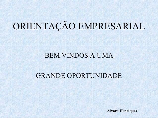ORIENTAÇÃO EMPRESARIAL     BEM VINDOS A UMA   GRANDE OPORTUNIDADE                   Álvaro Henriques
