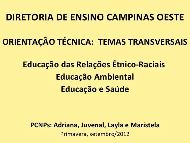 DIRETORIA DE ENSINO CAMPINAS OESTEORIENTAÇÃO TÉCNICA: TEMAS TRANSVERSAIS    Educação das Relações Étnico-Raciais          ...