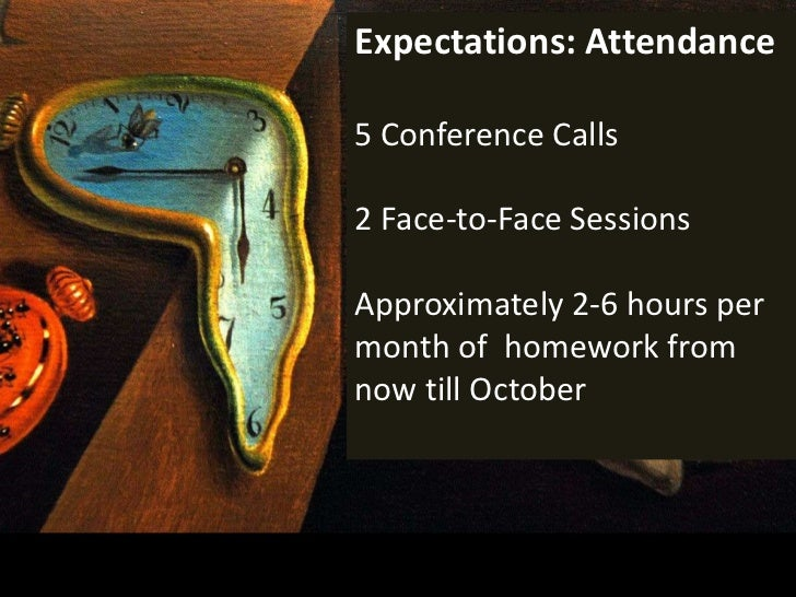 Expectations: Attendance<br />5 Conference Calls<br />2Face-to-Face Sessions<br />Approximately 2-6 hours per month of  ho...