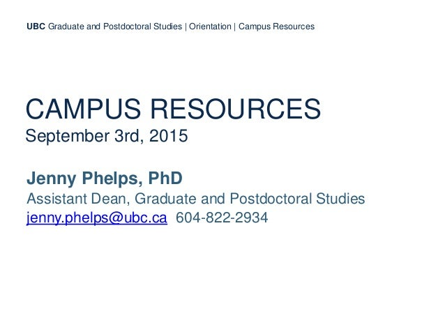 CAMPUS RESOURCES September 3rd, 2015 Jenny Phelps, PhD Assistant Dean, Graduate and Postdoctoral Studies jenny.phelps@ubc....