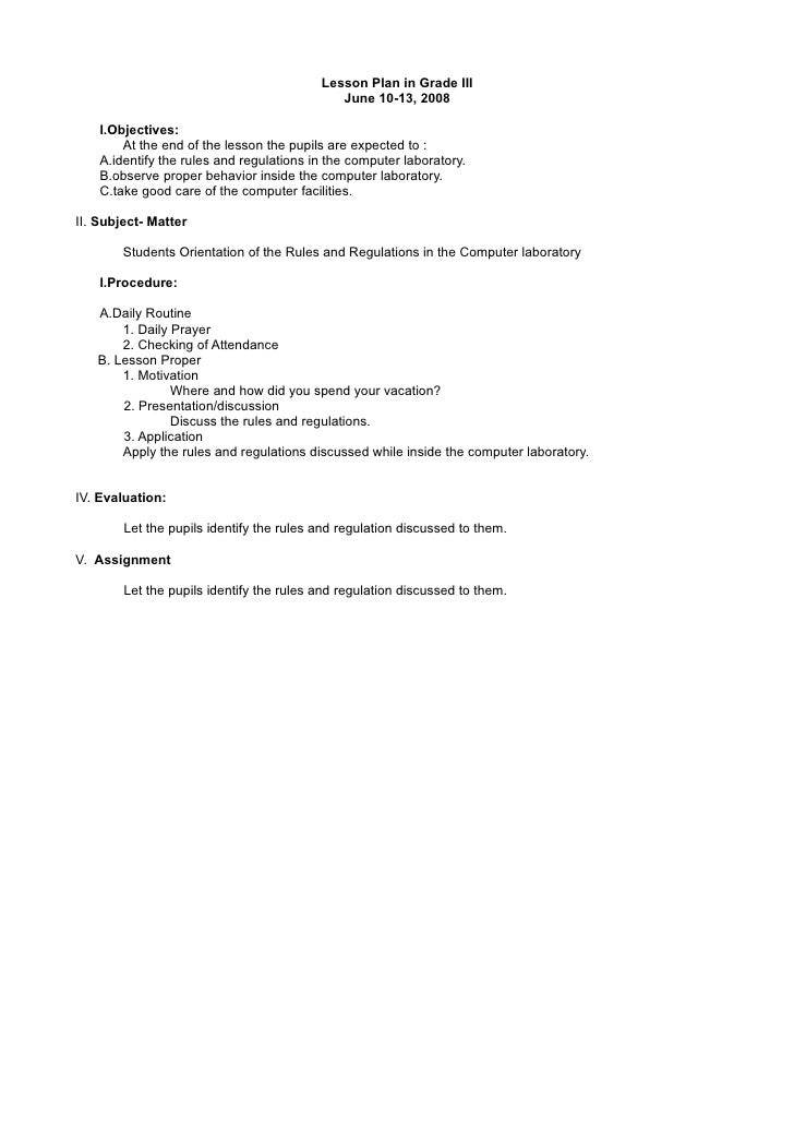 Lesson Plan in Grade III                                              June 10-13, 2008      I.Objectives:         At the e...