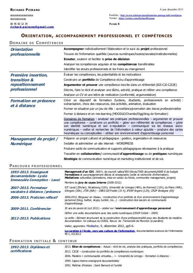 RICHARD PEIRANO  À jour décembre 2013  xxxxxxxxxxxxxxxx xxxxxxxxxxx  Portfolio : http://www.relation-transformation-partag...