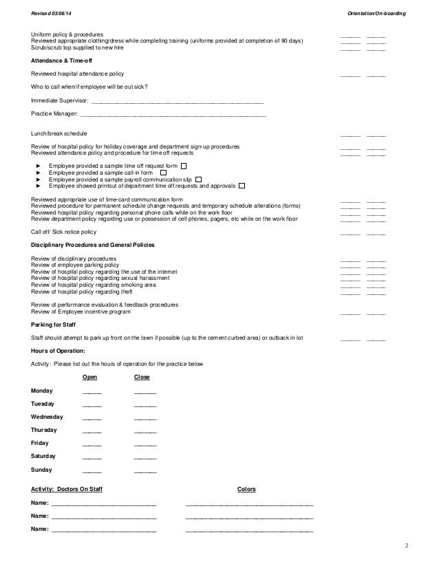 Employee Orientation and On-boarding Outline 2014 (CAH)