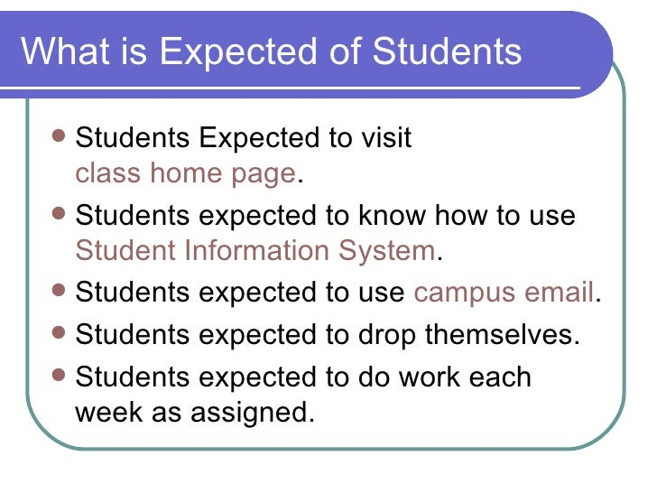 What is Expected of Students <ul><li>Students Expected to visit  class home page . </li></ul><ul><li>Students expected to ...