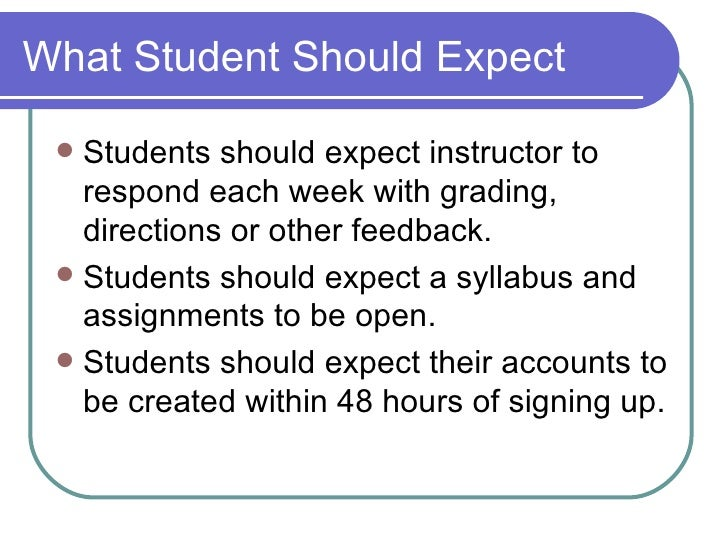 What Student Should Expect <ul><li>Students should expect instructor to respond each week with grading, directions or othe...