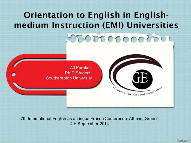medium of instruction is english