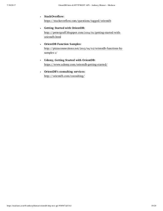 OrientDB Intro & HTTP REST API Tutorial