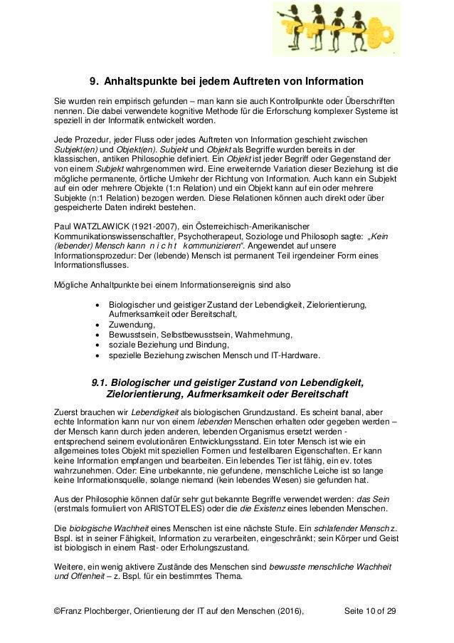 ©Franz Plochberger, Orientierung der IT auf den Menschen (2016), Seite 10 of 29 9. Anhaltspunkte bei jedem Auftreten von I...