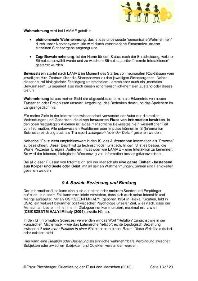 ©Franz Plochberger, Orientierung der IT auf den Menschen (2016), Seite 13 of 29 Wahrnehmung wird bei LAMME geteilt in  ph...