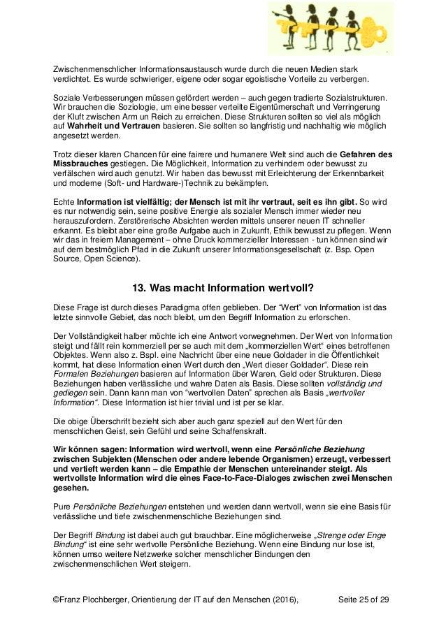 ©Franz Plochberger, Orientierung der IT auf den Menschen (2016), Seite 25 of 29 Zwischenmenschlicher Informationsaustausch...