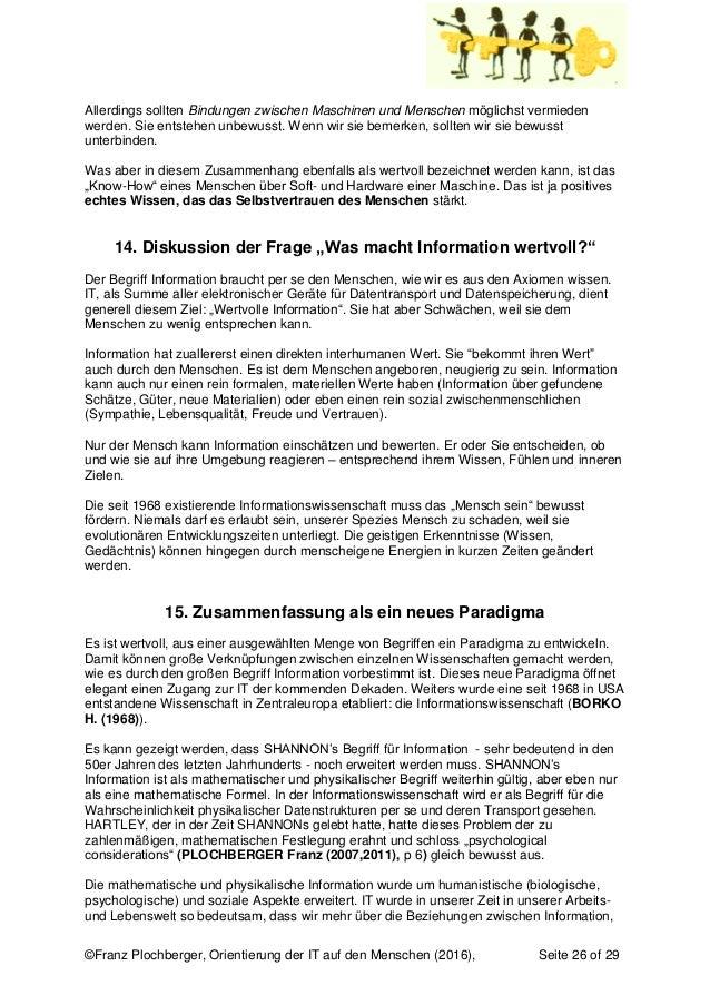 ©Franz Plochberger, Orientierung der IT auf den Menschen (2016), Seite 26 of 29 Allerdings sollten Bindungen zwischen Masc...