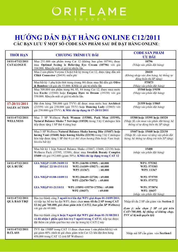 Oriflame 12-2011: Huong Dan Dat Hang Online