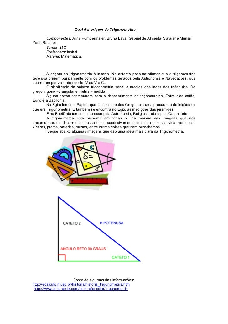 Qual é a origem da Trigonometria      Componentes: Aline Pompermaier, Bruna Lava, Gabriel de Almeida, Saraiane Munari,Yane...