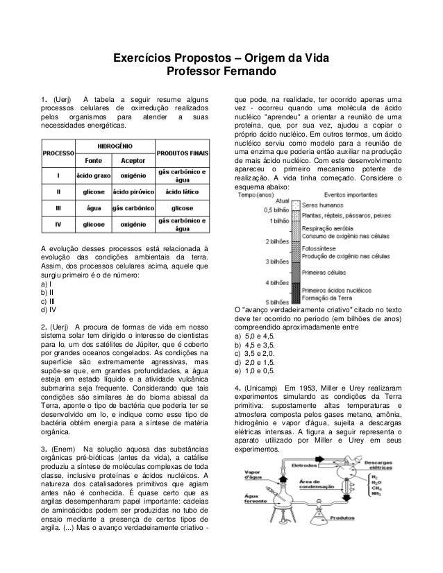 Exercícios Propostos – Origem da Vida  Professor Fernando  1. (Uerj) A tabela a seguir resume alguns processos celulares d...