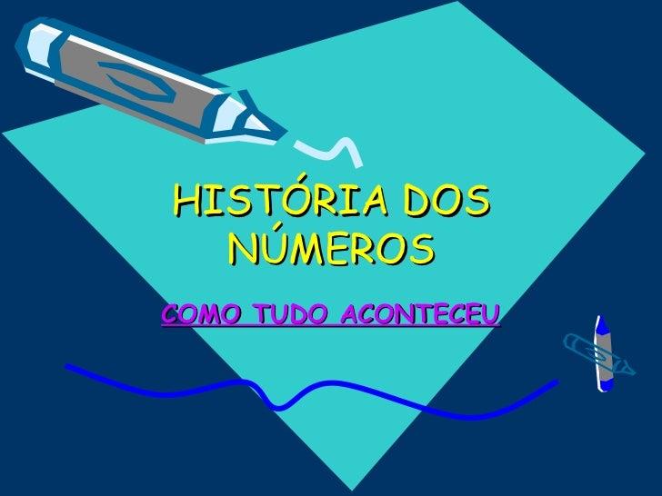 HISTÓRIA DOS  NÚMEROSCOMO TUDO ACONTECEU