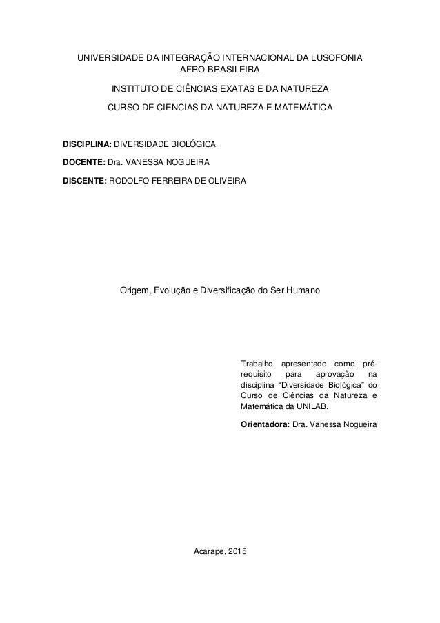 UNIVERSIDADE DA INTEGRAÇÃO INTERNACIONAL DA LUSOFONIA AFRO-BRASILEIRA INSTITUTO DE CIÊNCIAS EXATAS E DA NATUREZA CURSO DE ...