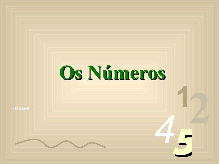 013456… 1 2 4 5 Os Números