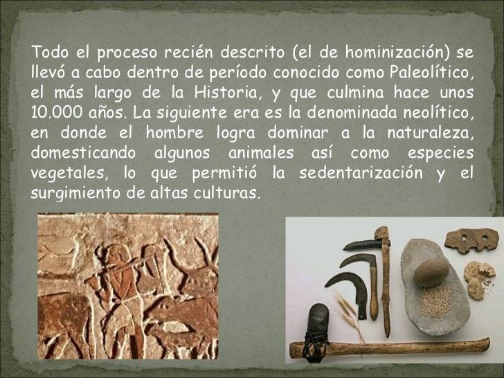 Todo el proceso recién descrito (el de hominización) se llevó a cabo dentro de período conocido como Paleolítico, el más l...