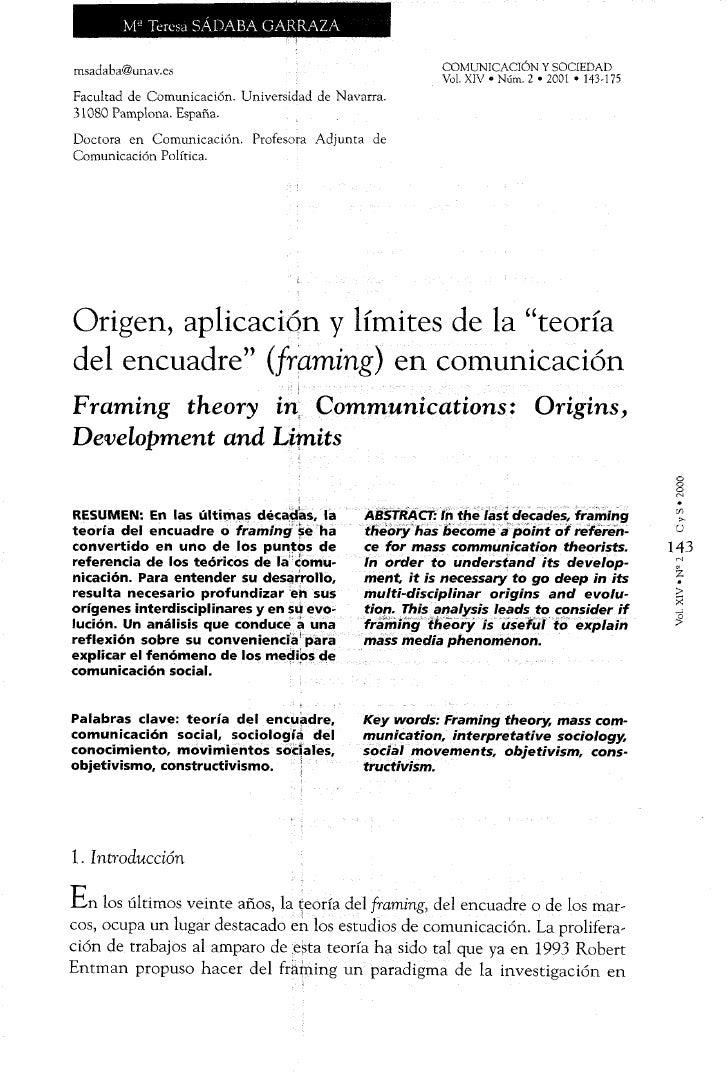 """Origen, aplicación y límites de la """"teoría del encuadre"""" (framing) en…"""