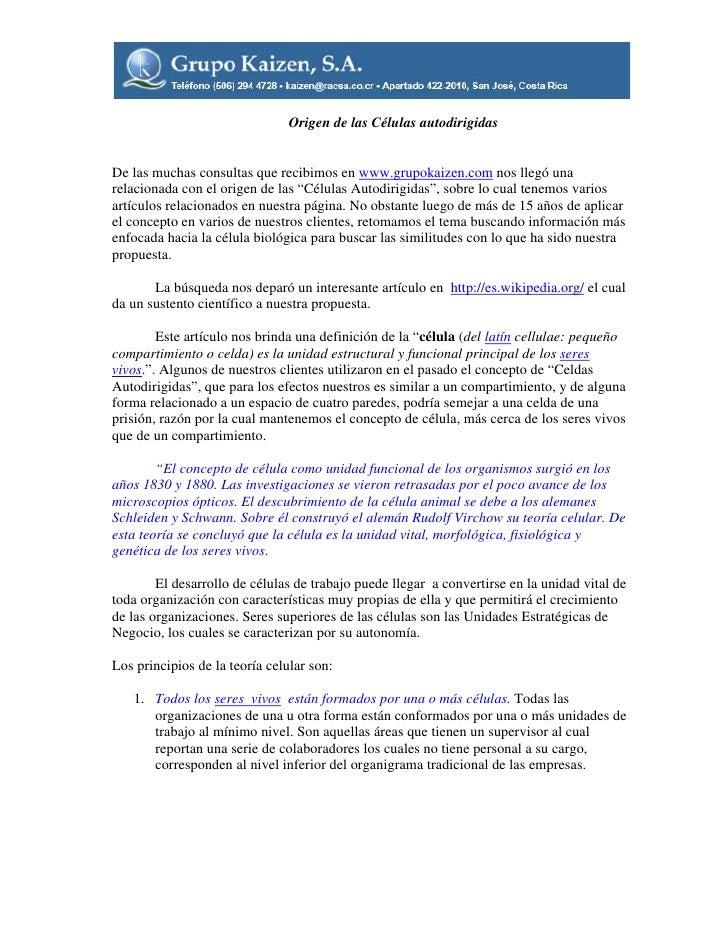 Origen De Las Celulas Autodirigidas