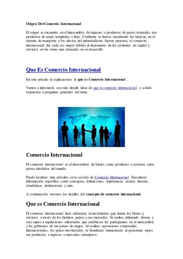 Origen del comercio internacional for Comercio exterior que es