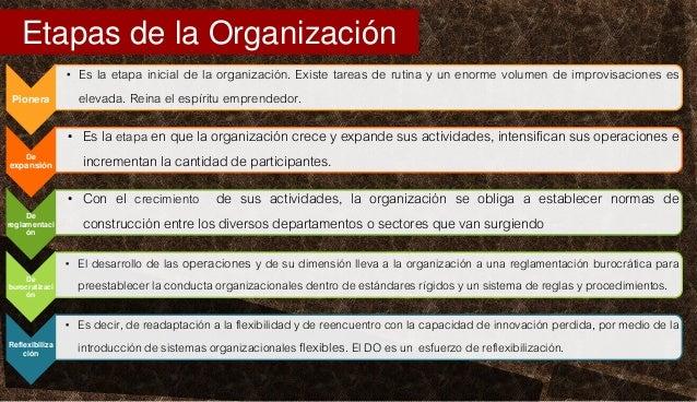 Pionera • Es la etapa inicial de la organización. Existe tareas de rutina y un enorme volumen de improvisaciones es elevad...