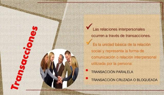 Las relaciones interpersonales ocurren a través de transacciones. Es la unidad básica de la relación social y representa...