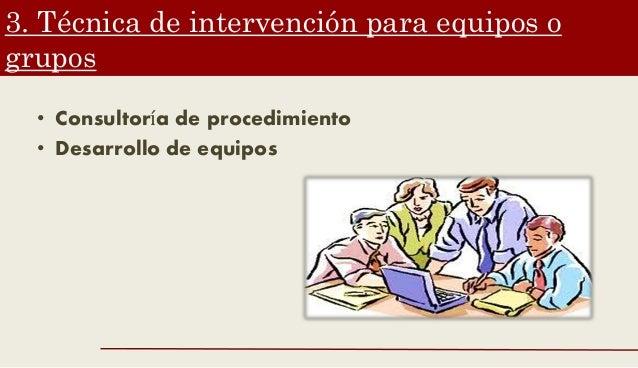 3. Técnica de intervención para equipos o grupos • Consultoría de procedimiento • Desarrollo de equipos