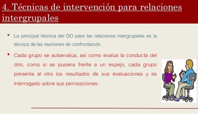 4. Técnicas de intervención para relaciones intergrupales • La principal técnica del DO para las relaciones intergrupales ...